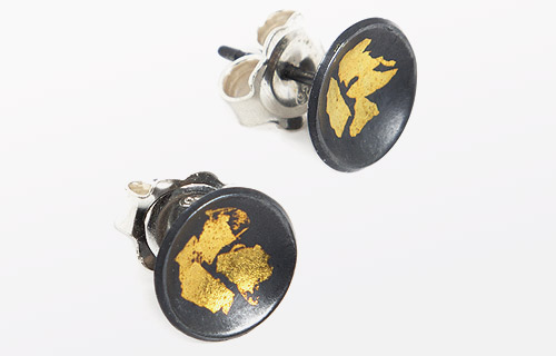 Keum Boo earrings - 24ct gold leaf and oxidised studs