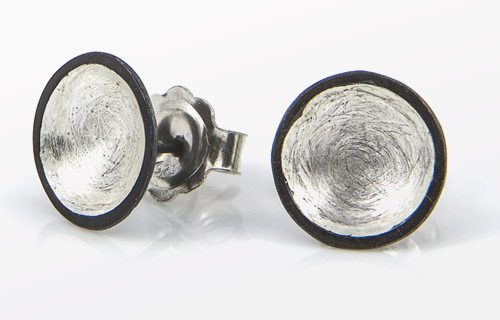 Oxidised & silver domed studs