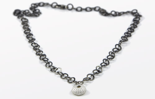 Sea Urchin shell silver necklace
