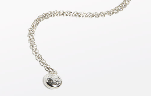 Sterling silver square chain necklace, length 23cm